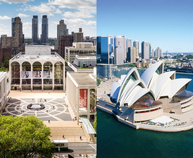 …New York City's Lincoln Center and the Sydney Opera House. While both broke ground in 1959, each creates its powerful iconography by radically different means.