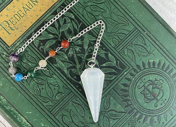 Selenite Pendulum with Chakra Beads