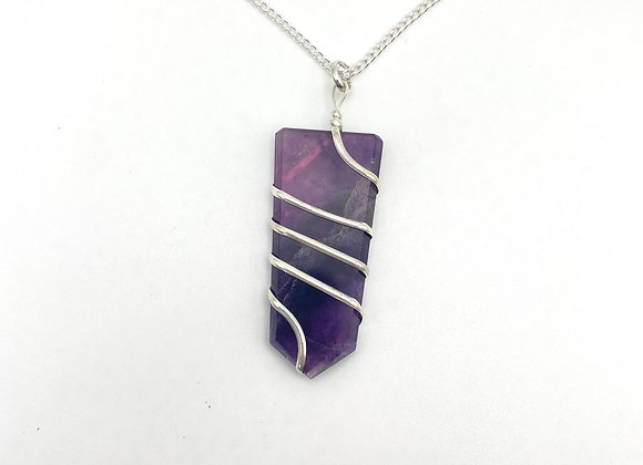 Amethyst Flat Wire Wrapped Pendant