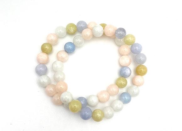 Morganite + Aquamarine Stretch Bead Bracelet