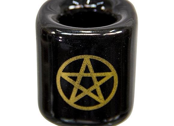 Chime Candle Holder - White or Black with Pentagram Design (Ceramic)