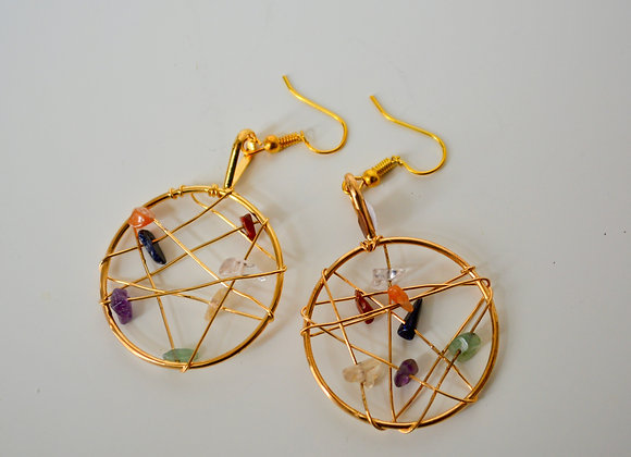 Dreamcatcher Chakra Stone Pendant Earrings with Gold Plated Hardware