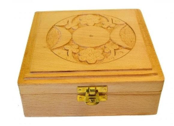 Triple Moon Carved Wood Box