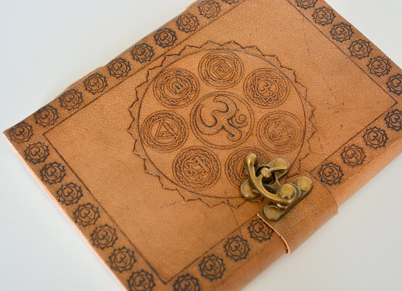 """Seven Chakra Leather Journal 5x7"""" with Latch Closure"""