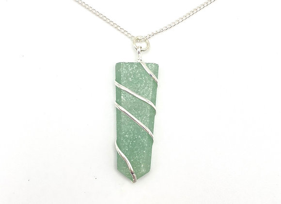 Green Aventurine Flat Wire Wrapped Pendant