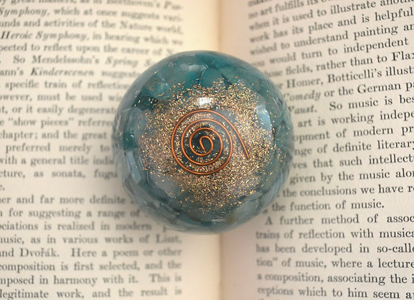 Orgone Sphere with Dyed Quartz + Copper