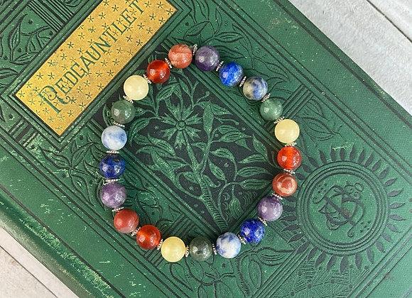 Seven Chakra Stretch Bead Bracelet