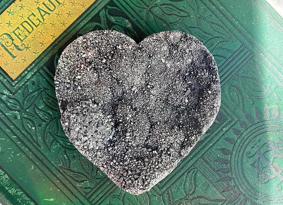 Silver Aura Quartz Crystal Heart