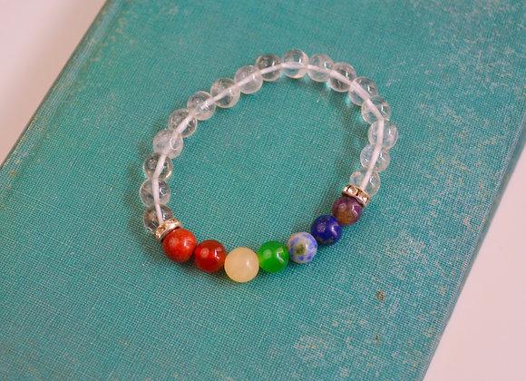 Clear Quartz with 7 Chakra Stretch Bead Bracelet