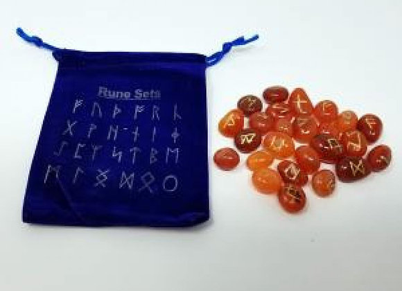 Carnelian Rune Stones with Velvet Bag