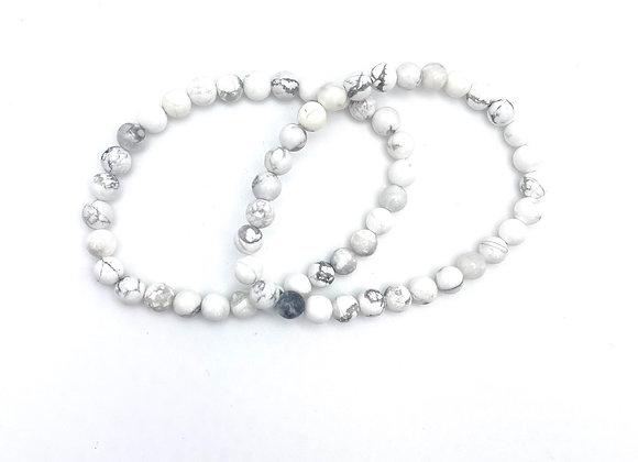 Howlite Stretch Bead Bracelet (White Buffalo - Sacred Buffalo - White Turquoise)