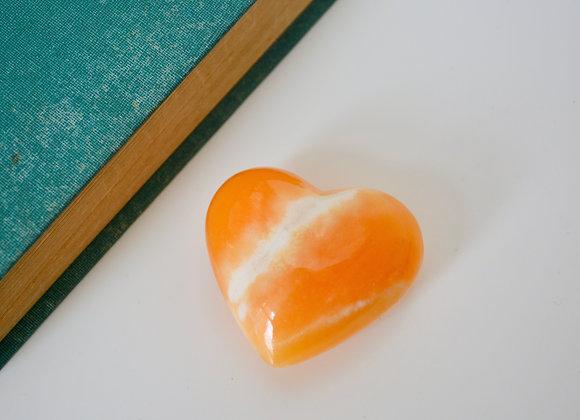 Pumpkin Orange Calcite - Heart Carving