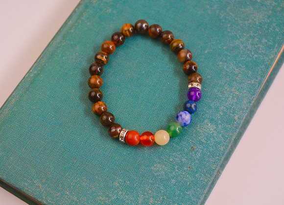 Gold Tiger's Eye with 7 Chakra Stones Bead Bracelet