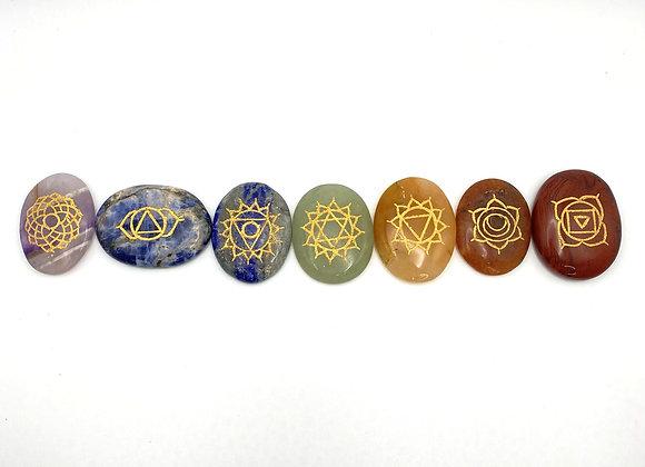 Chakra Worry Stone Set - Engraved Symbols