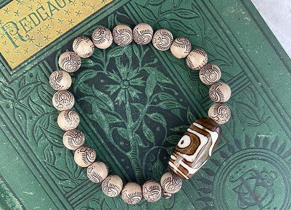 Buddha Eye on Tibetan Beads Stretch Bracelet