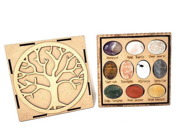 Worry Gemstone Oval Stones 10 Pc Set w/Box