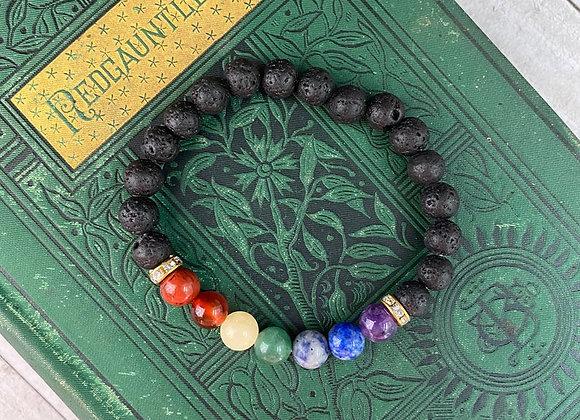 Chakra Lava Bead Bracelet   All Purpose - Stretch Bracelet
