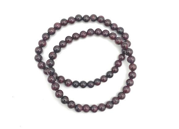 Garnet Stretch Bead Bracelet