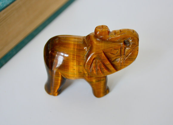 Gold Tiger's Eye - Elephant Carving
