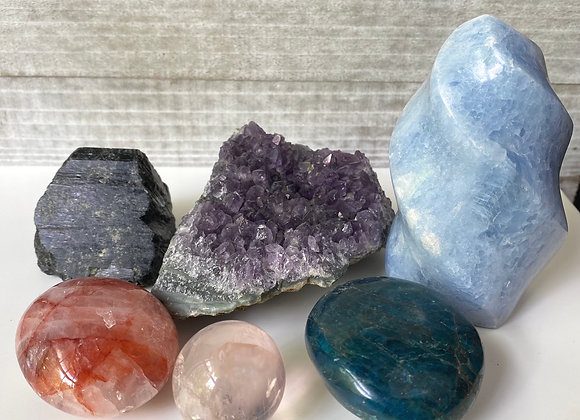 6pc Deluxe Crystal Kit - Amethyst, Calcite, Tourmaline + More