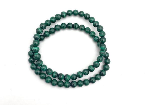 Green Malachite Stretch Bead Bracelet