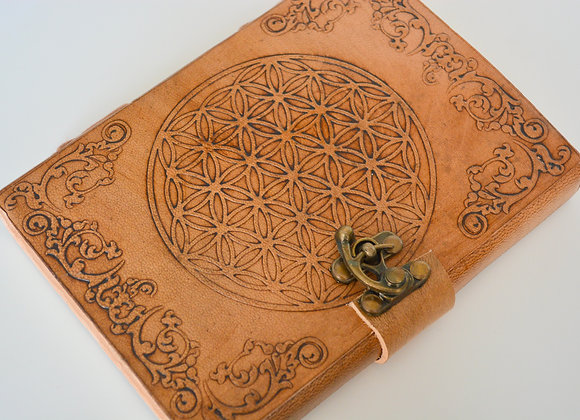 "Flower of Life Leather Journal 5x7"" with Latch Closure"