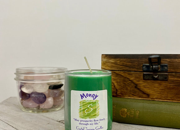 Money - Crystal Journey Herbal Magic Filled Votive Candles with Holder