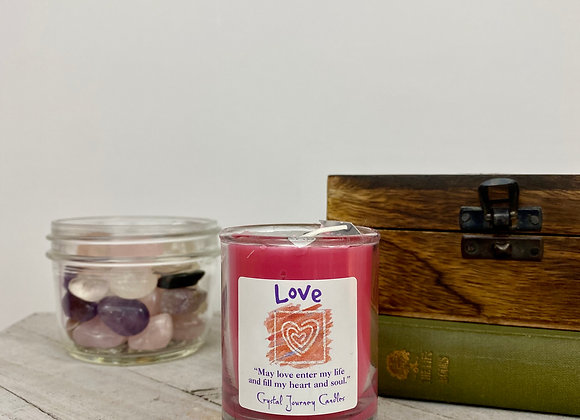 Love -  Crystal Journey Herbal Magic Filled Votive Candles with Holder
