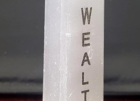 """""""I Am Wealthy"""" Etched Selenite Affirmation Tower (Satin Spar)"""