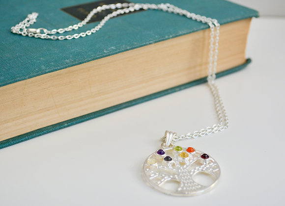 Tree of Life Chakra Pendant Silver Chain