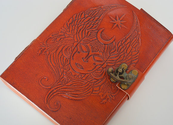 """Moon Goddess Leather Journal 5x7"""" with Latch Closure"""