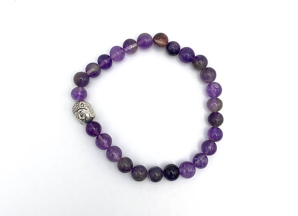 Amethyst with Buddha Charm - Stretch Bead Bracelet