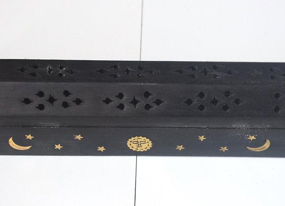 Black Celestial Wooden Incense Box Burner
