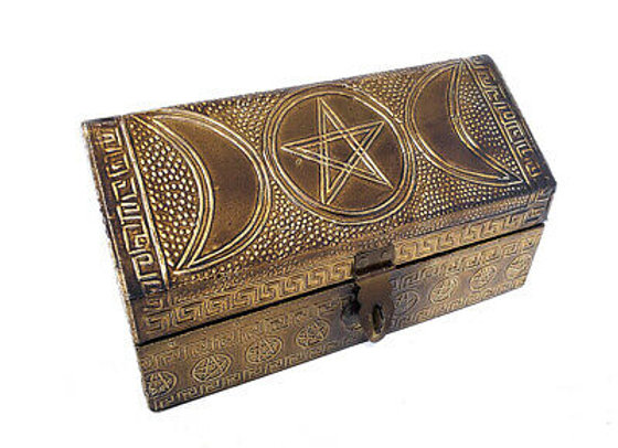 Triple Moon Pentagram Carved Metal over Wood Box with latch