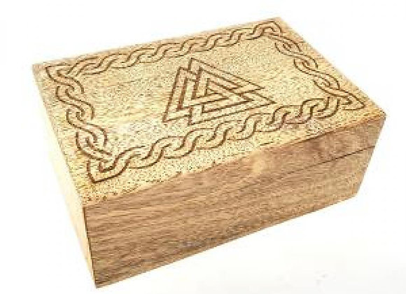 Triple Triangle Carved Wooden Box