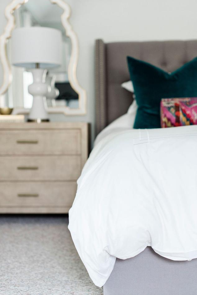 Modern transitional master bedroom by Houston area design firm Nancy Lane Interiors.