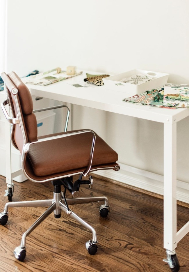Desk work space at the studio office space for Nancy Lane Interiors