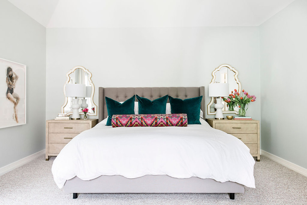 Modern transitional bedroom by Houston interior design firm Nancy Lane Interiors