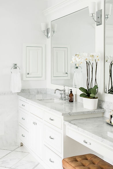 Modern transitional bathroom styled by Houston residential design firm Nancy Lane Interiors