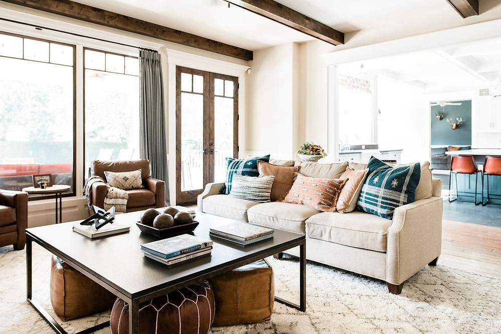 Modern twist on traditional in this Houston area family room by residential interior design firm Nancy Lane Interiors.