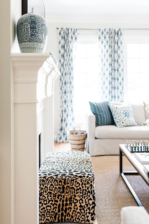 Modern traditional family room by Houston residential interior design firm Nancy Lane Interiors