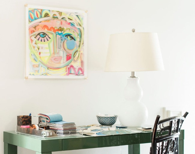 Colorful desk work space at the studio office space for Houston residential design firm Nancy Lane Interiors.