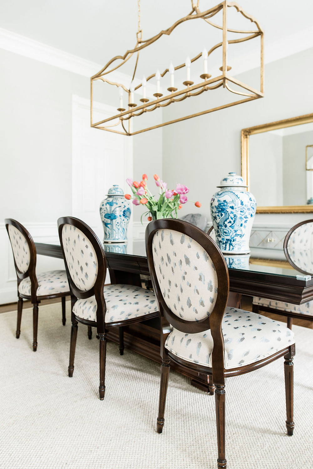Modern traditional dining room by Houston interior design firm Nancy Lane Interiors
