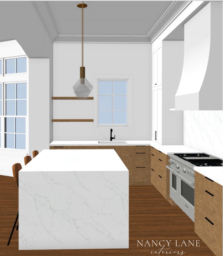 Transitional Kitchen Rendering by Houston interior design firm Nancy Lane Interiors