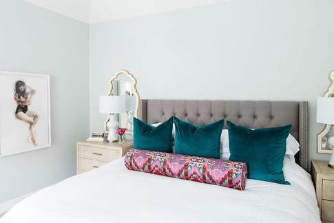 Modern transitional master bedroom by Houston interior design firm Nancy Lane Interiors.