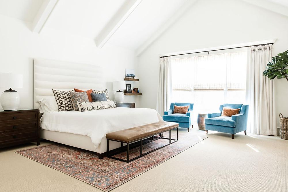Modern transitional bedroom by Houston interior design firm Nancy Lane Interiors.