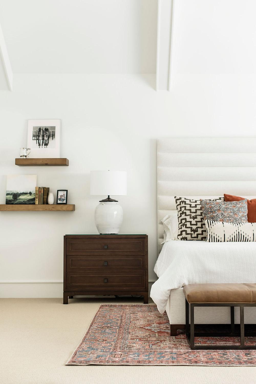 Modern bedroom retreat by Houston interior design firm Nancy Lane Interiors.