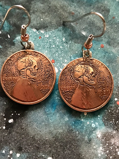 Hobo Penny Coin Earrings - domed copper vintage Lincoln Penny - hand engraved sk