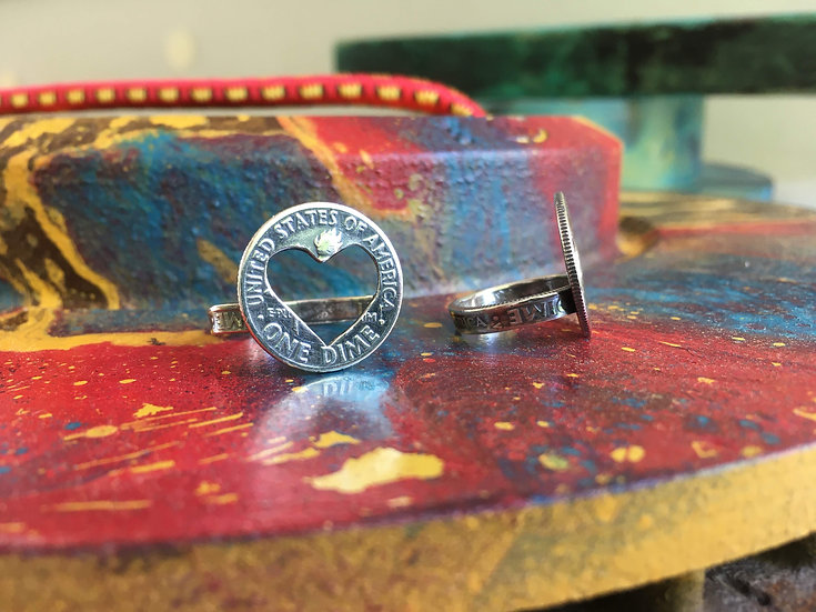 Silver Dime Rings - Heart - silver soldered dime band - made entirely out of vin