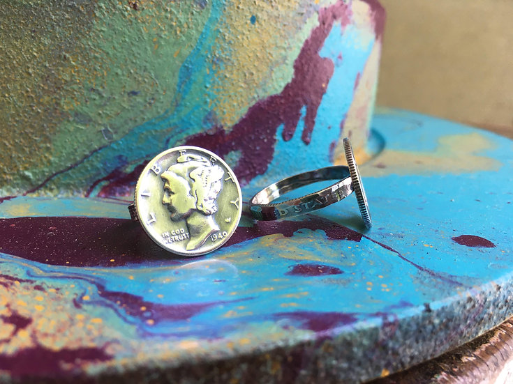 Silver Mercury dime ring with silver dime band - soldered